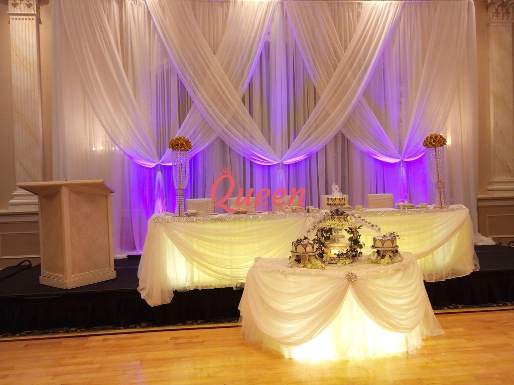 Reception decor backdrop wedding decorations toronto for Backdrop decoration